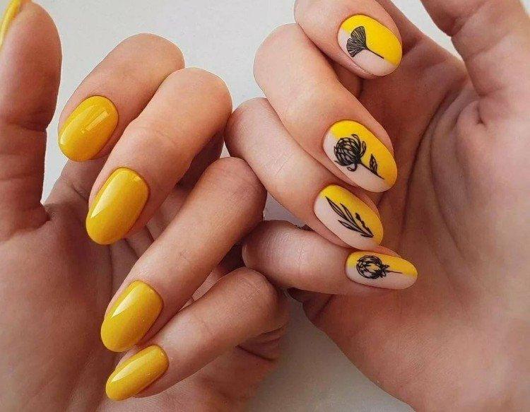 Yellow, orange and mustard manicure