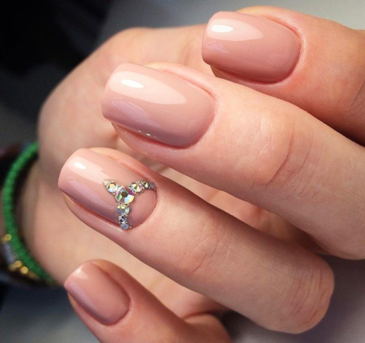 Sequins and rhinestones for short nails