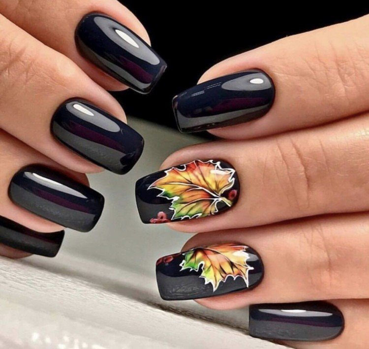 Drawings of leaves on nails