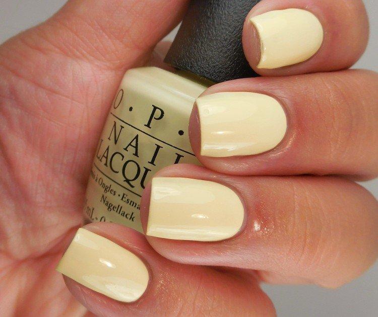 Translucent yellow manicure