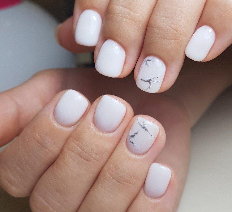 White and milk manicure