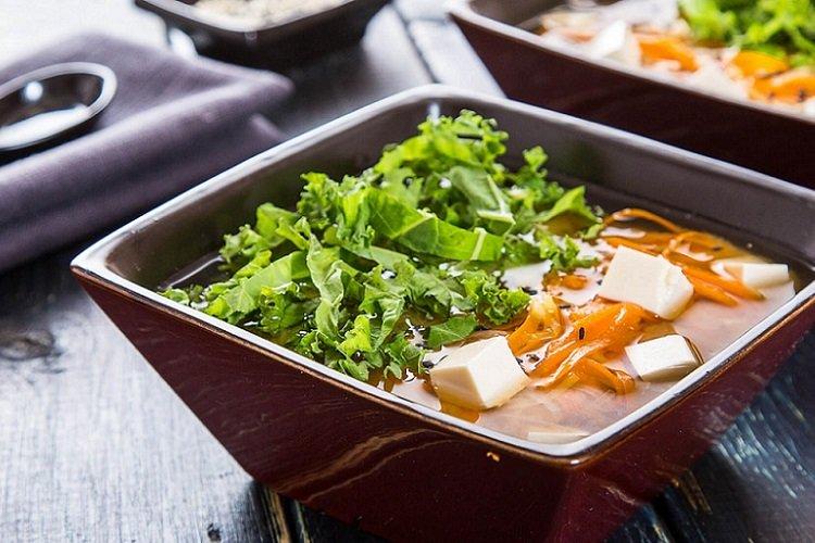 Vegan miso soup with kale