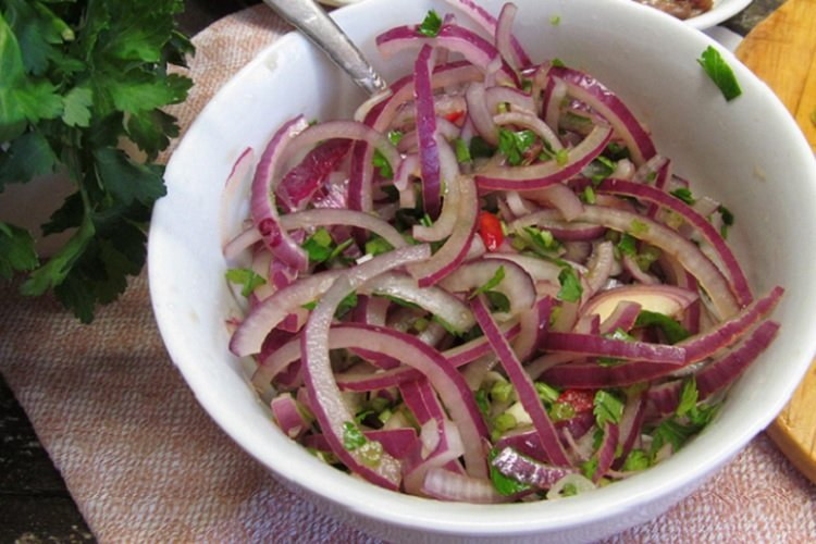 Onions marinated in soy sauce